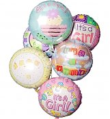Balloons: New Baby Balloon Bouquet-6 Mylar